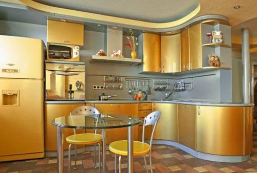 Золотой цвет в интерьере: кухня в золотом цвете