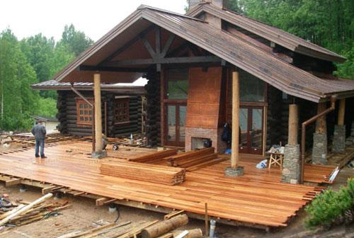 Строительство террасы в деревянном доме