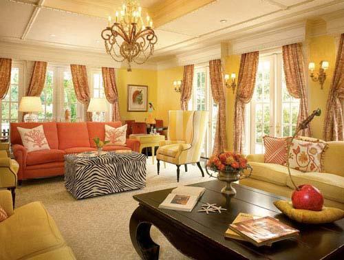 Золотой цвет в интерьере: гостиная в золотом цвете