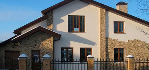 Облицовка фасада дома сайдингом, кирпичом