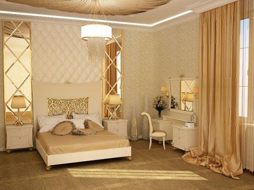 Золотой цвет в интерьере: спальна в золотом цвете