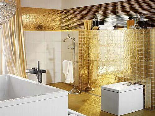 Золотой цвет в интерьере: ванная в золотом цвете